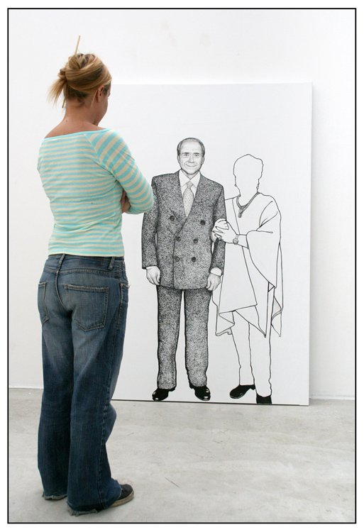 Ozmo 'Portrait of Silvio Berlusconi on 1:1 Scale' 150x200 acrylic on pvc 2006 installation view