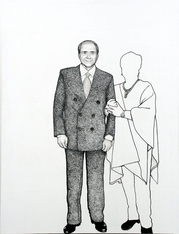 Ozmo 'Portrait of Silvio Berlusconi on 1:1 Scale' 150x200 acrylic on pvc 2006