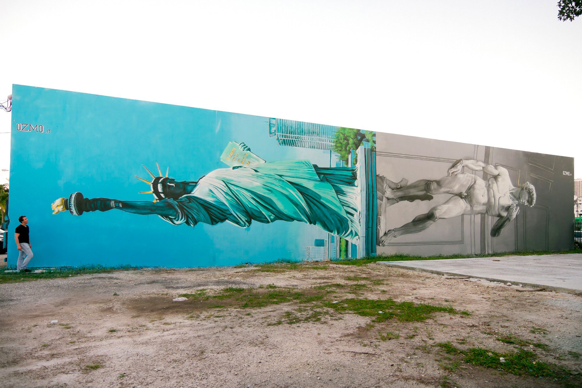 New Mural in Miami, Lady Liberty and David sharing the same pedestal