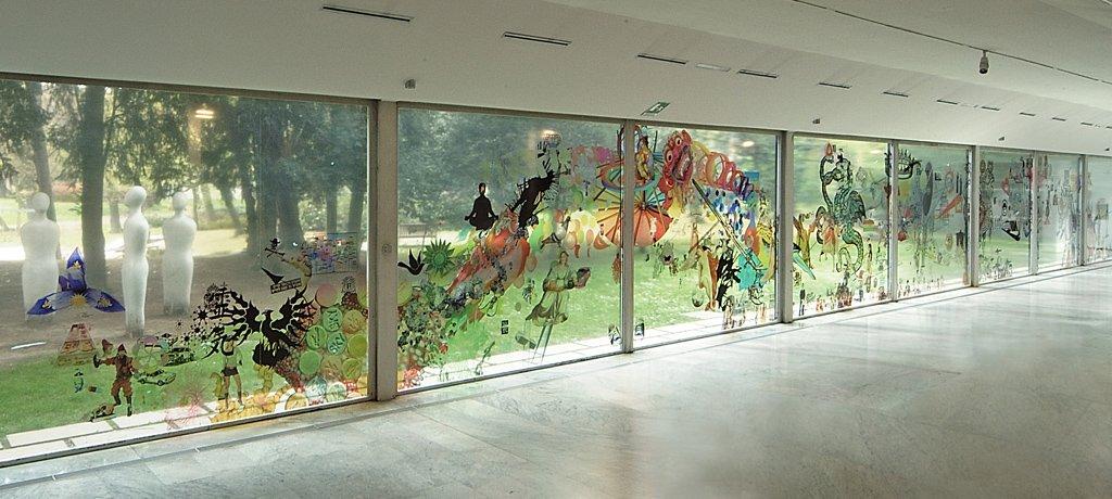 Ozmo P.A.C. 'street art sweet art' Vinyl on glass 2007