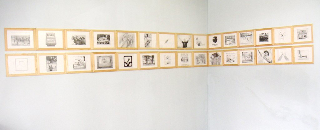 google image search keyword 'resistance' 30 elements, pencil on paper, installation view 2006