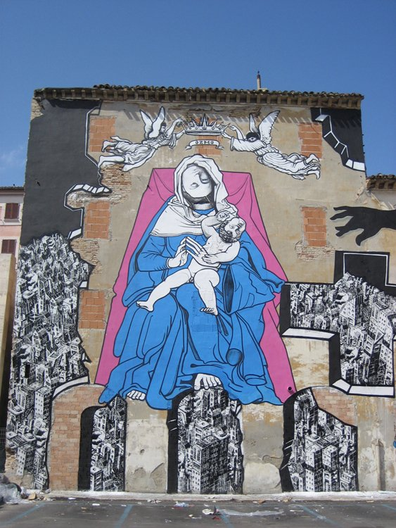 ozmo Ancona 'Holy Mother and Child with upside down heads' 2008 paint on wall 10x16