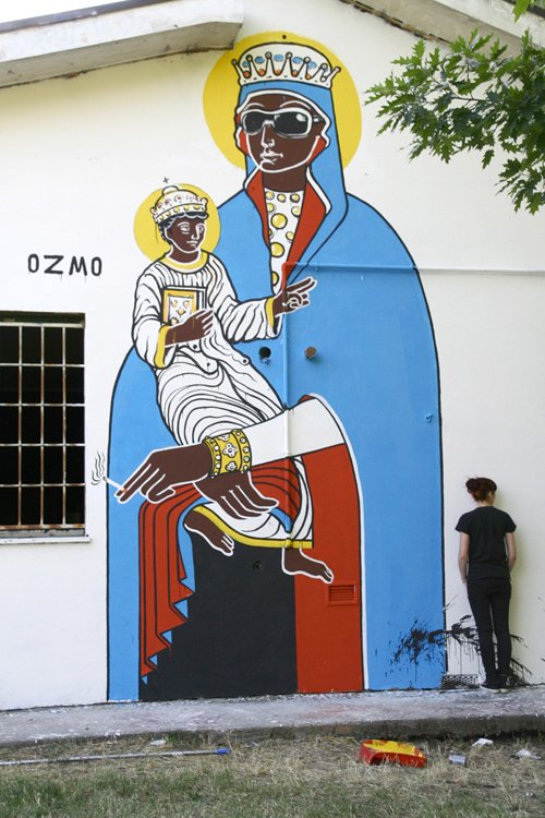 ozmo Holy Mother with Cigarette and Prada Eyewear Bologna paint on wall 5x6m