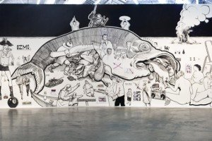 Ozmo Moscow Young Biennal 'Small Fish Eat Big Fish' acrylics and paper on wood 10x3m 2010