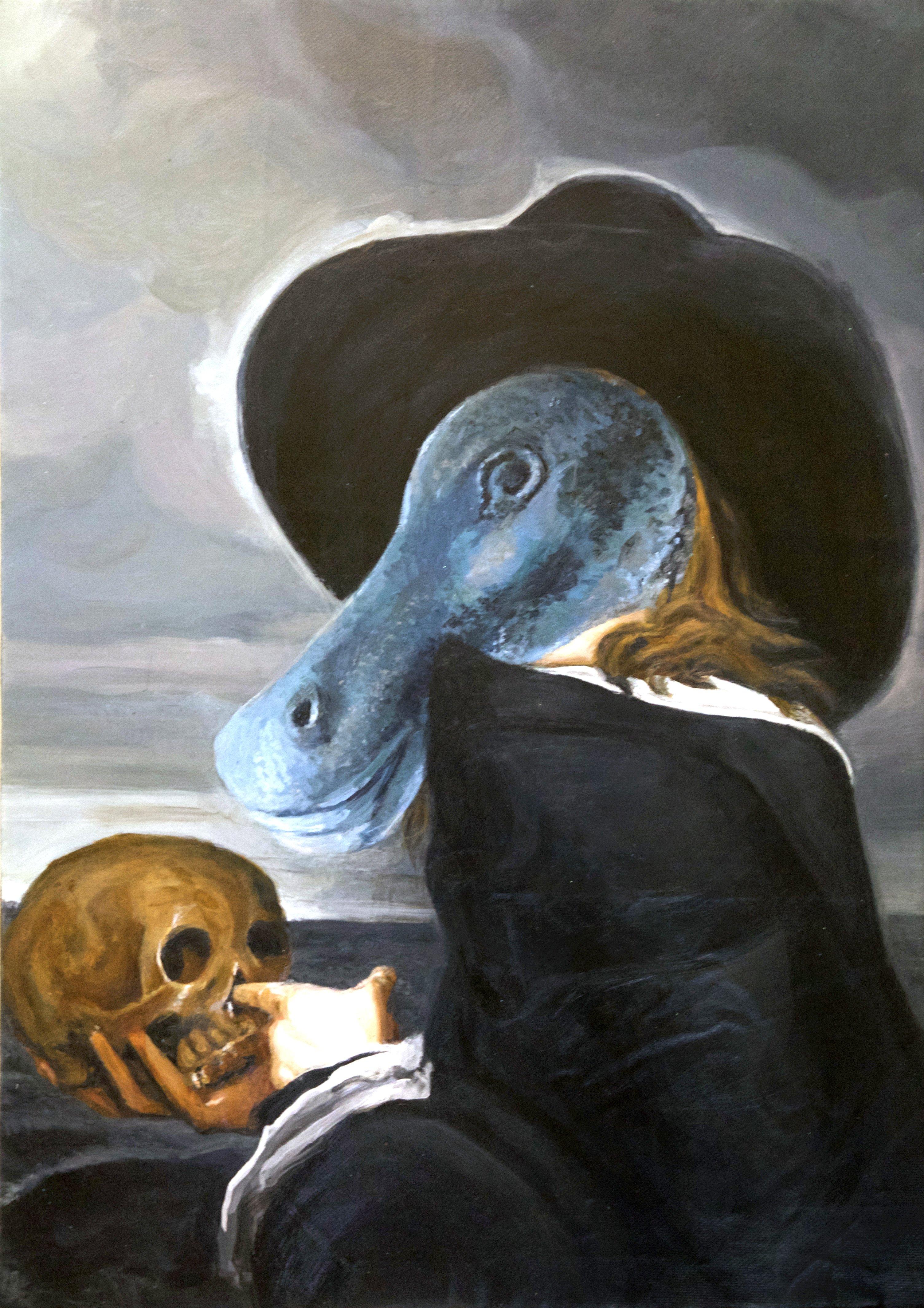 self portrait of Michael Sweerts plus a prehistoric horse head 27,5 x 19,5 in 2016