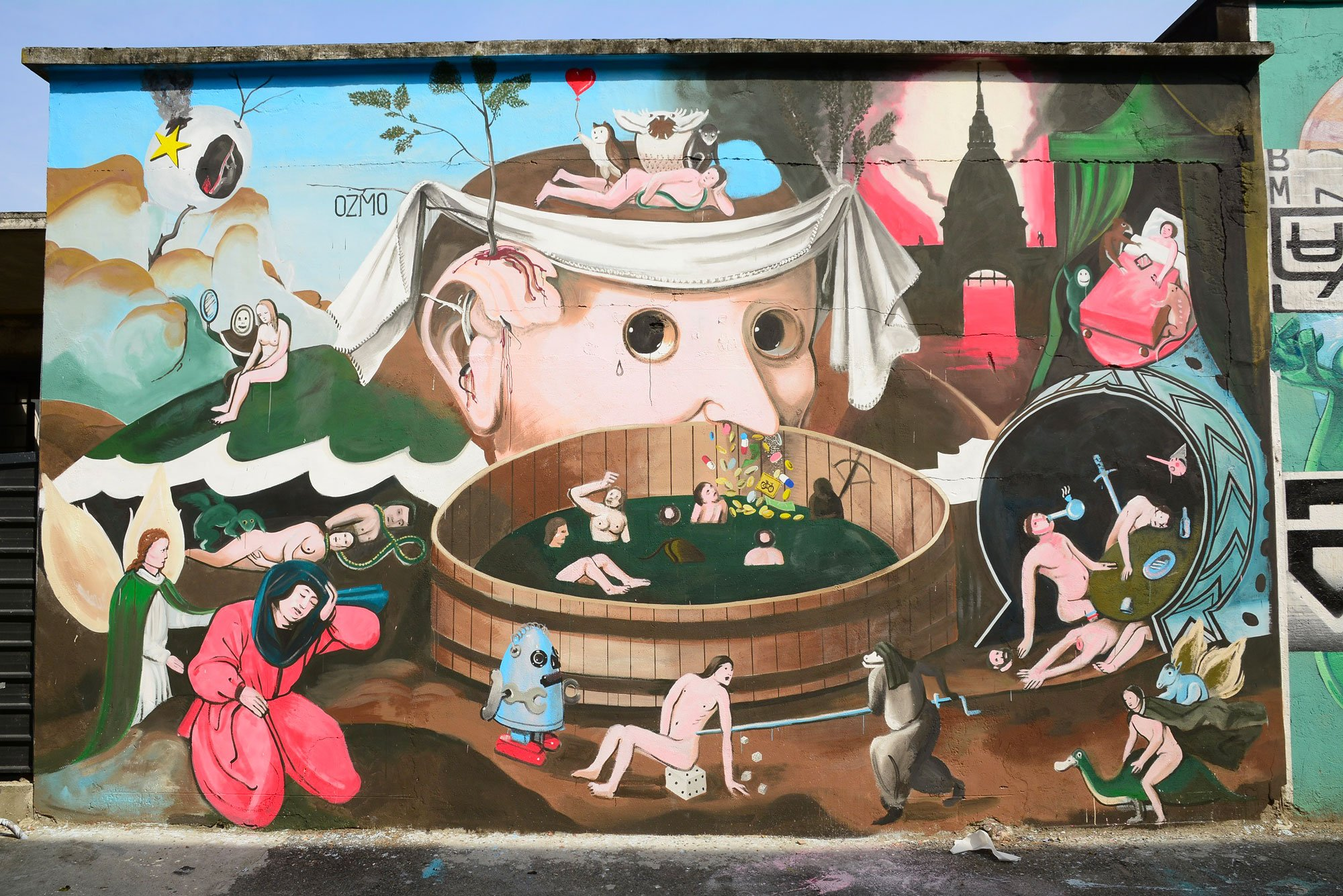 Mural in Turin , inspired by Bosch's school